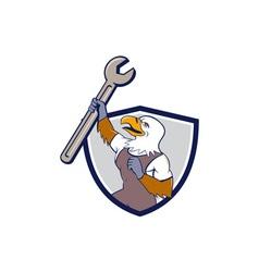 Mechanic Bald Eagle Spanner Crest Cartoon vector image vector image