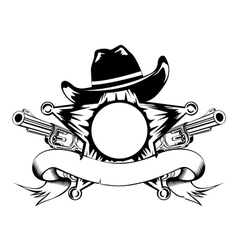 sheriffs star and revolvers vector image vector image