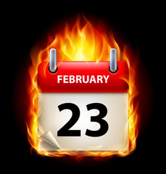 twenty-third february in calendar burning icon on vector image