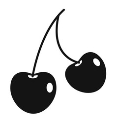 two cherry berries icon simple style vector image