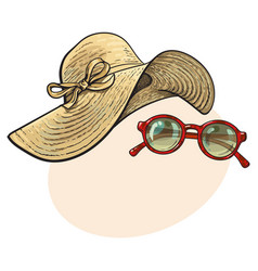 straw hat with wide flaps and sunglasses in red vector image vector image