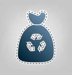 trash bag icon blue icon with outline for vector image vector image
