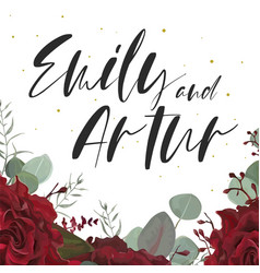 Wedding elegant invite save the date floral card vector