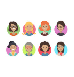 woman face emotive icons in flat style set vector image vector image