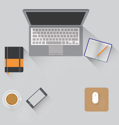 workspace with objects lying on a vector image