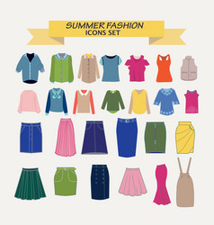 collection of shirts blouses and skirts vector image
