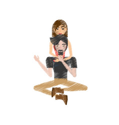 drawing couple love sitting vector image vector image