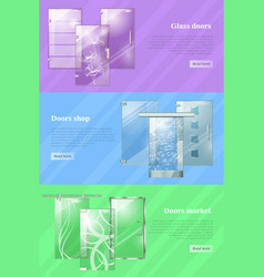 glass doors shops and markets colourful web banner vector image