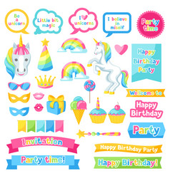 Happy birthday scrapbook patch fantasy items and vector