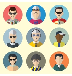 Set of Circle Icons with Man Sunglasses vector image vector image