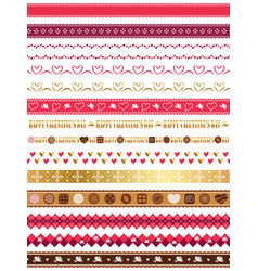 assorted seamless borders for valentines day vector image