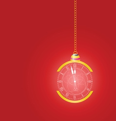 christmas clock on red vector image vector image