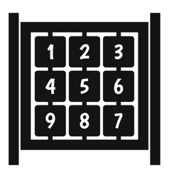 Cubes with numbers on playground icon simple style vector
