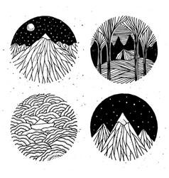 hand drawn nature set vector image