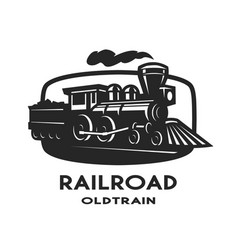 old steam train emblem logo vector image