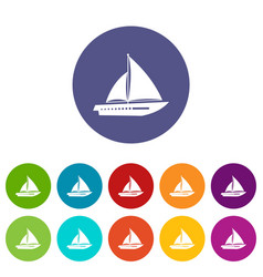 sailing yacht set icons vector image