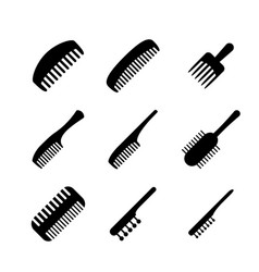 set of hair comb icons in silhouette style vector image vector image