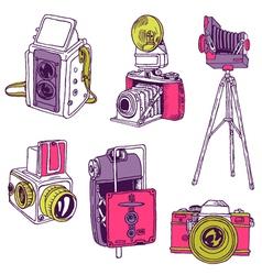 Set of Photo Cameras vector image vector image