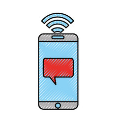 Smartphone with speech bubble message icon vector