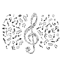 Treble clef with notes among musical symbols vector image