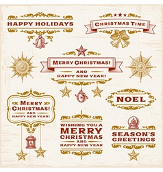 Vintage Christmas Labels vector image vector image