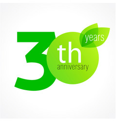 30 anniversary green logo vector