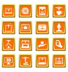 3d printing icons set orange vector