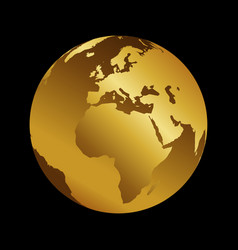 africa golden 3d metal planet backdrop view vector image