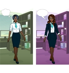 African Businesswoman in office interior vector image