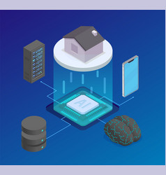 ai chip isometric composition vector image