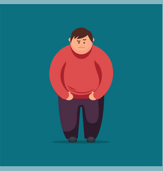 Angry fat man flat vector