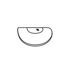 apple slice icon in black flat outline design vector image