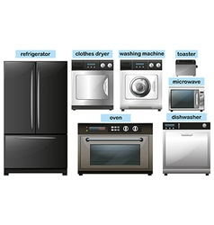Appliance set with electronic equipment vector image