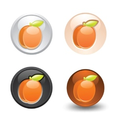 apricot button set web 20 icons vector image