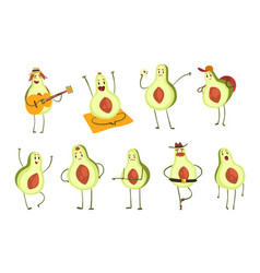 avocado cartoon characters set emotional avocados vector image
