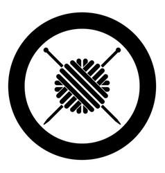 ball of wool yarn and knitting needles icon black vector image