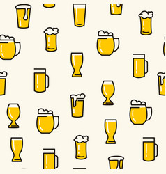 Beer glasses seamless pattern vector