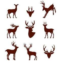 black silhouettes different deer horns vector image