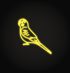 Budgerigar parrot icon in glowing neon style vector