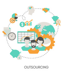 business and outsourcing concept business and vector image