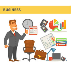 business businessman in suit leather chair and vector image
