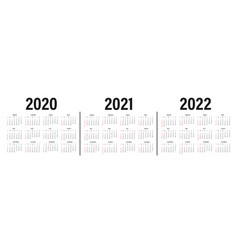 calendar 2020 2021 and 2022 template calendar vector image