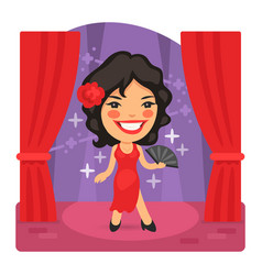 cartoon salsa dancer on stage vector image