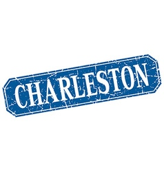 Charleston blue square grunge retro style sign vector