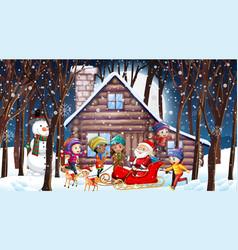 Christmas scene with santa and many kids vector
