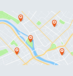 City map with pins town roads and residential vector