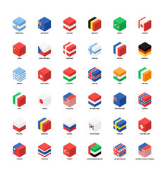 collection national flags isometric icon flat vector image