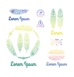 color ethnic feathers logo set vector image