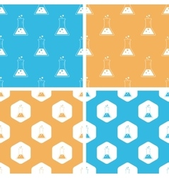 Conical flask pattern set colored vector