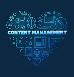 content management heart line blue vector image